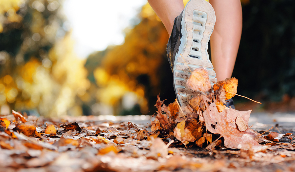 Woman running healthy on a wooded path.